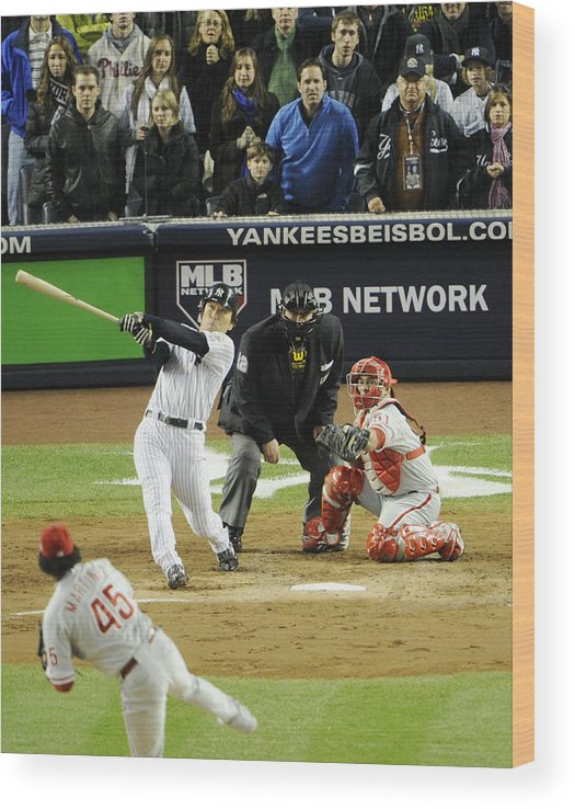 American League Baseball Wood Print featuring the photograph New York Yankees Hideki Matsui Hits by New York Daily News Archive