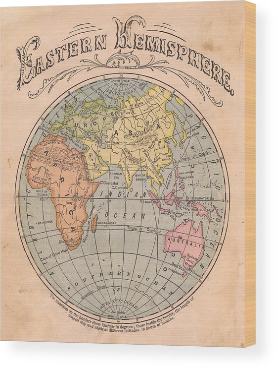 Arabia Wood Print featuring the photograph Old, Color Map Of The Eastern by Ideabug