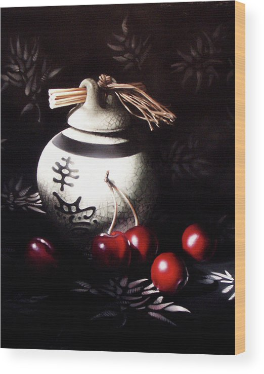Oriental Wood Print featuring the pastel Ornamental Cherries by Dianna Ponting