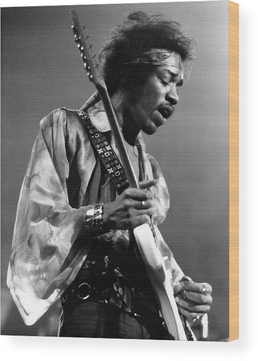 Music Wood Print featuring the photograph Photo Of Jimi Hendrix And Jimi Hendrix by David Redfern
