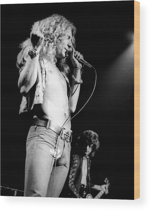 Led Zeppelin Wood Print featuring the photograph Photo Of Robert Plant And Led Zeppelin by David Redfern