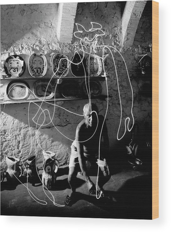 Pablo Picasso Wood Print featuring the photograph Picasso Drawing With Light by Gjon Mili