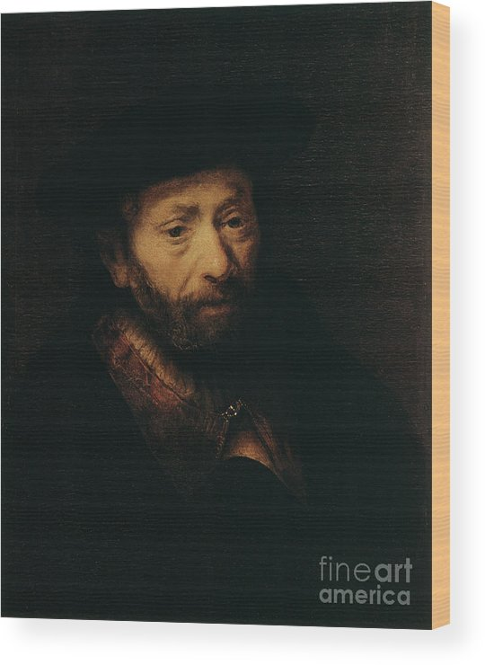 Headwear Wood Print featuring the drawing Portrait Of An Old Man, 17th Century by Print Collector