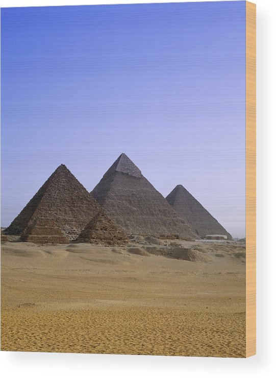 Clear Sky Wood Print featuring the photograph Pyramids In Desert Landscape, Close Up by Stephen Studd