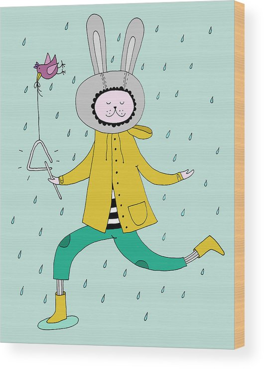 Animal Themes Wood Print featuring the digital art Rabbit In Rain by Kristina Timmer