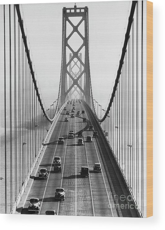 Civil Engineering Wood Print featuring the photograph San Francisco-oakland Bay Bridge by Bettmann