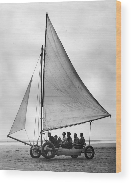 Skegness Wood Print featuring the photograph Sand Yachting by Fox Photos