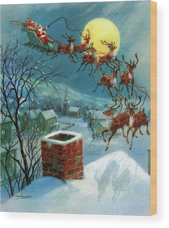 People Wood Print featuring the photograph Santa Claus And His Sleigh by Graphicaartis