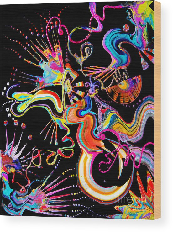 Fluid Etherial Flowing Exciting Vibrant Charming Compelling Fun Colorful Energetic Youthful Wood Print featuring the painting Secret Fairy Moon by Priscilla Batzell Expressionist Art Studio Gallery