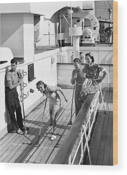 Heterosexual Couple Wood Print featuring the photograph Shuffleboard Players by George Marks