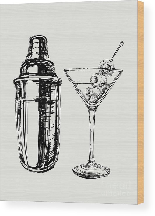 Symbol Wood Print featuring the digital art Sketch Martini Cocktails With Olives by Mazura1989