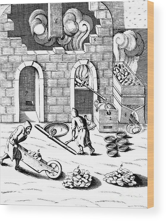Working Wood Print featuring the drawing Smelting Of Copper, 1683 by Print Collector