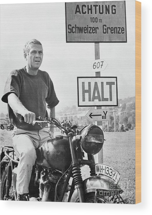 German Language Wood Print featuring the photograph Steve Mcqueen On Motorcycle by Bettmann