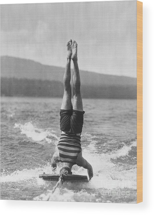 People Wood Print featuring the photograph Stunt Man Performing Aquaplane Feat by Bettmann