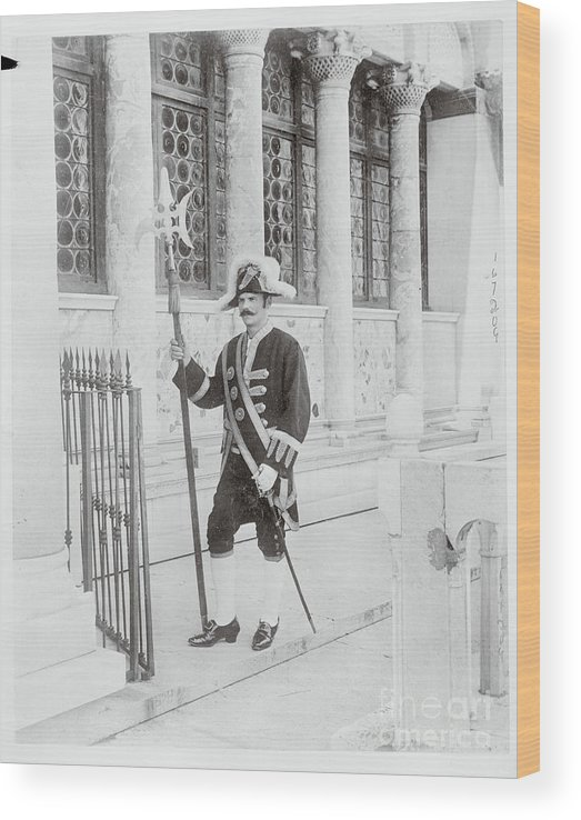 People Wood Print featuring the photograph Swiss Guard At St. Marco Church by Bettmann