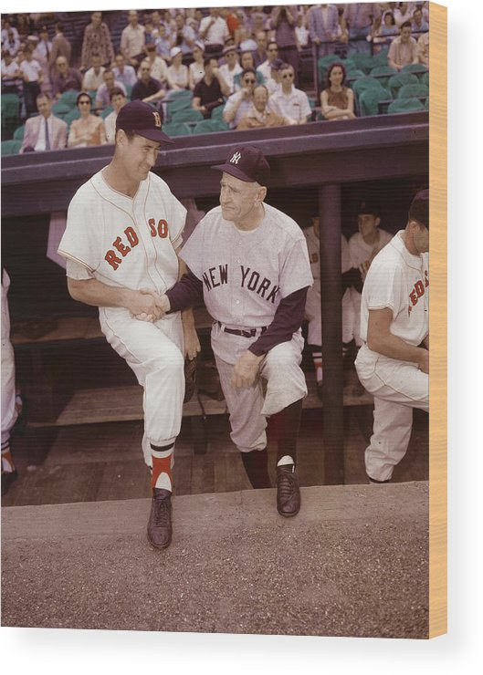 1950-1959 Wood Print featuring the photograph Ted Williams & Casey Stengel by Hulton Archive