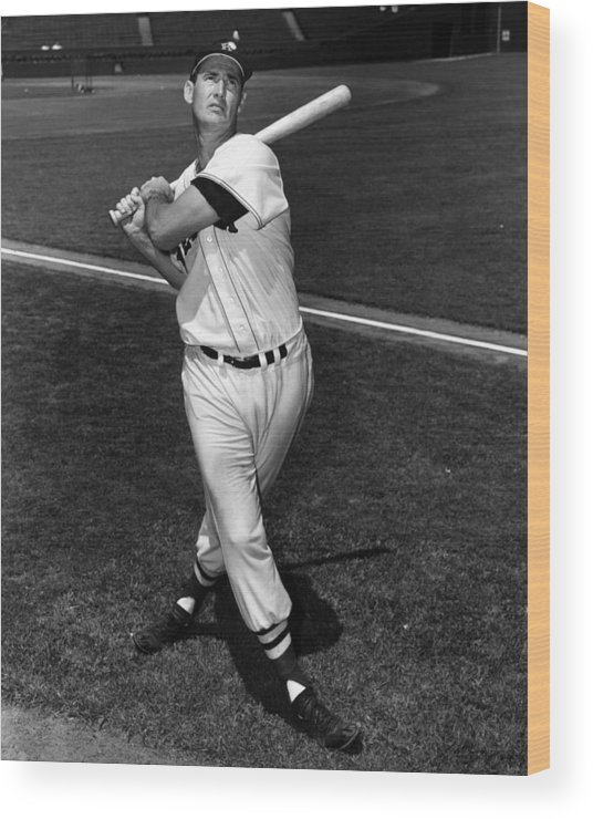 People Wood Print featuring the photograph Ted Williams by Hulton Archive