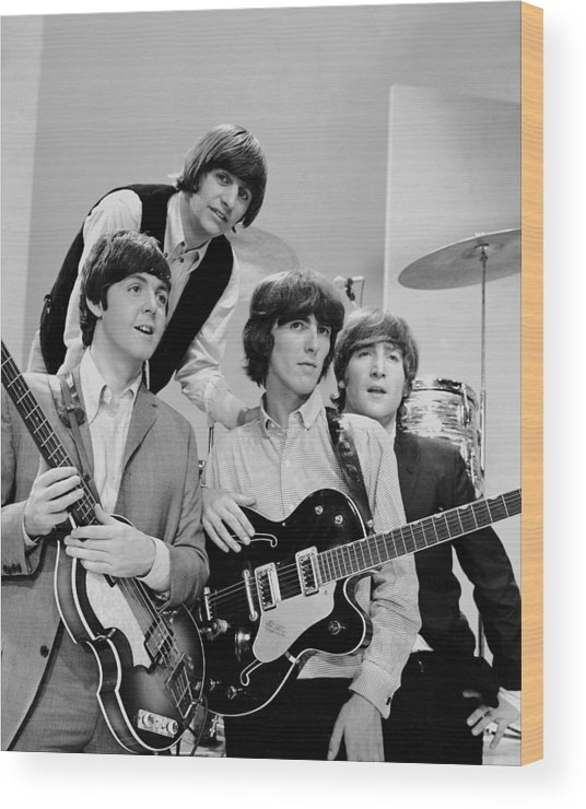 People Wood Print featuring the photograph The Beatles, Ringo Starr Rear And L. To by New York Daily News Archive