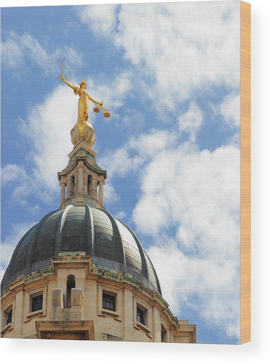 Statue Wood Print featuring the photograph The Old Bailey, Central Criminal Court by Peter Dazeley