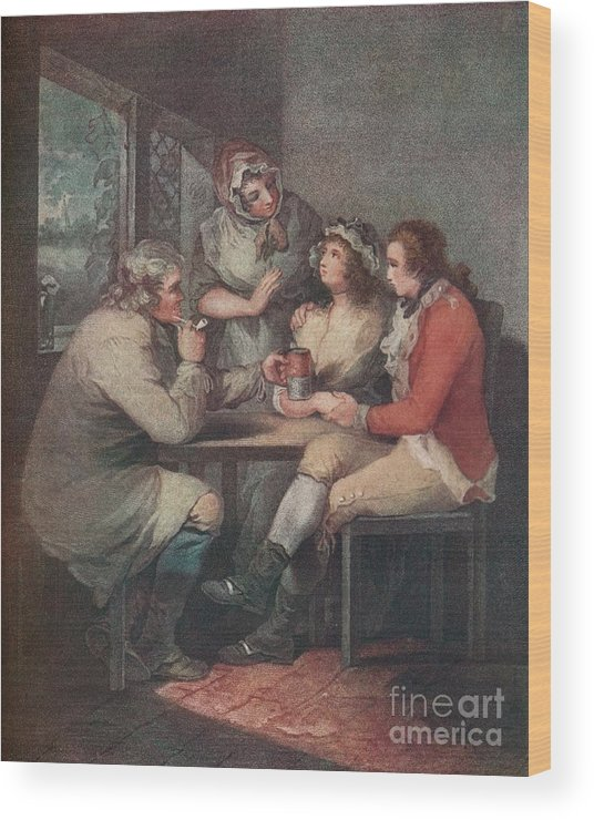 Engraving Wood Print featuring the drawing The Soldiers Return, C18th Century 1909 by Print Collector