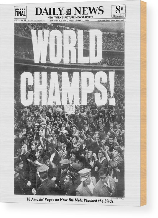 American League Baseball Wood Print featuring the photograph Ticker Tape Cascading On Lower Broadway by New York Daily News Archive
