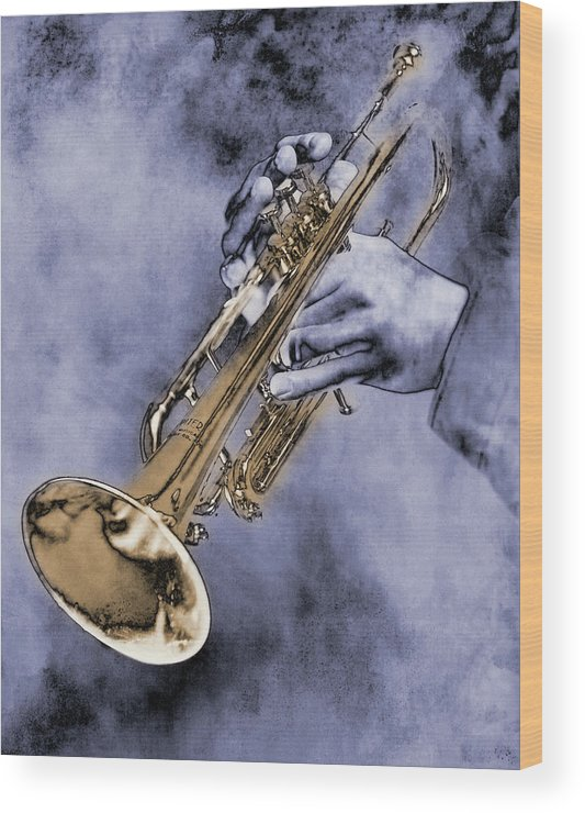 One Man Only Wood Print featuring the digital art Trumpet Player by Nick White
