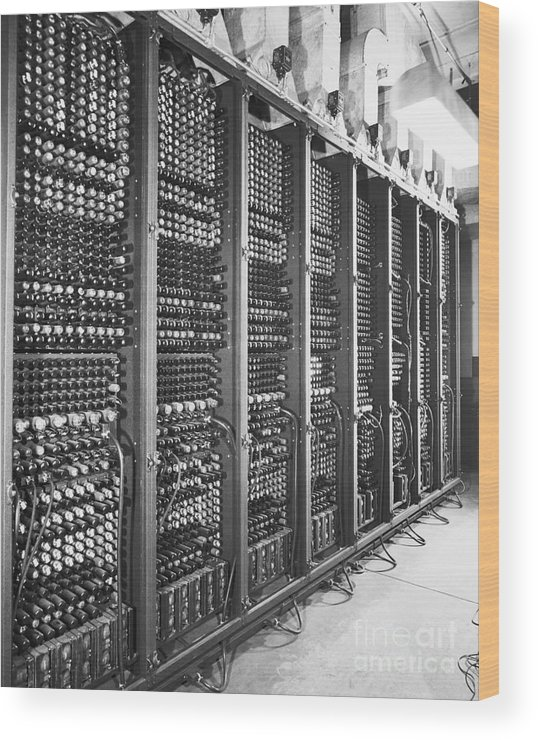 Computer Wood Print featuring the photograph Vacuum Tubes Of Eniac by Bettmann