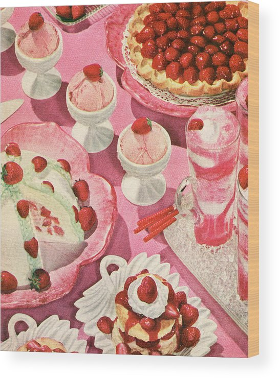 Milk Wood Print featuring the photograph Variety Of Strawberry Desserts by Graphicaartis