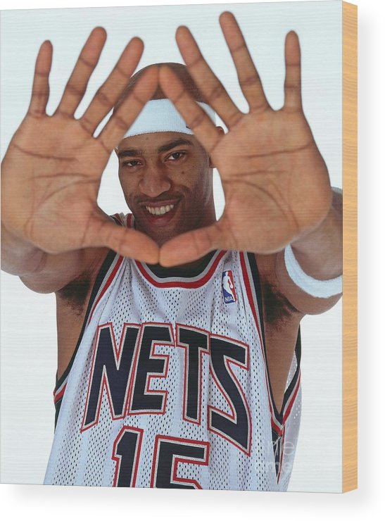 Nba Pro Basketball Wood Print featuring the photograph Vince Carter Studio Portrait by Nathaniel S. Butler