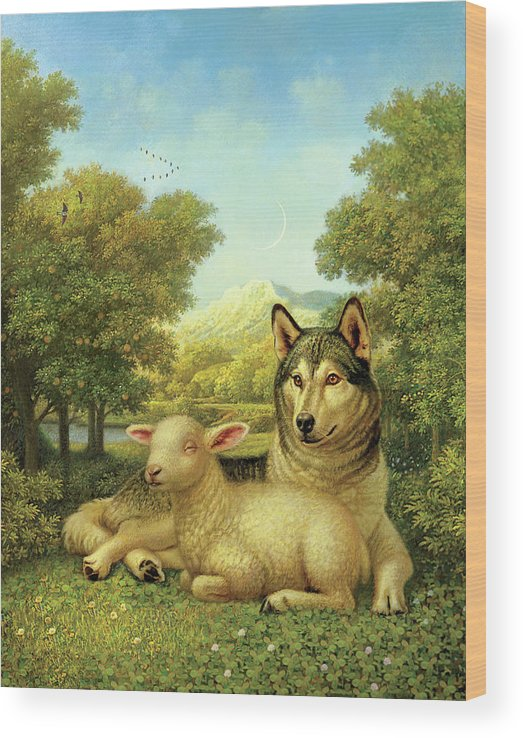 Wolf Laying With A Lamb Wood Print featuring the painting Wolf Lies Down With The Lamb by Dan Craig