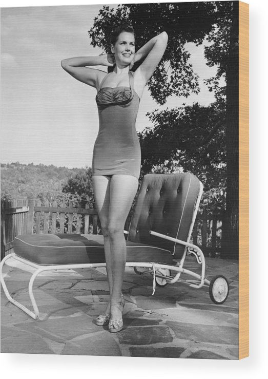 People Wood Print featuring the photograph Woman In Bathing Suit Outdoors by George Marks