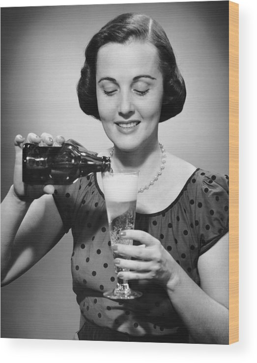 People Wood Print featuring the photograph Woman Pouring Alcoholic Beverage by George Marks