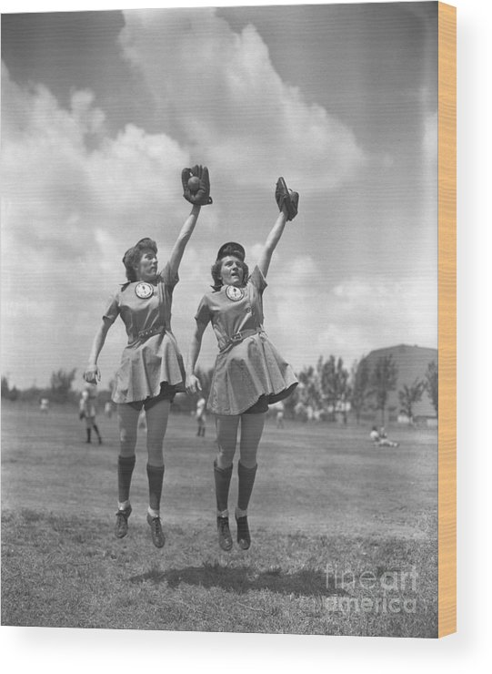 Mid Adult Women Wood Print featuring the photograph Womens Baseball League Twin Players by Bettmann