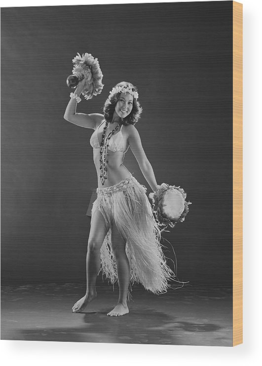 People Wood Print featuring the photograph Young Woman Hula Dancer With Feathered by Tom Kelley Archive