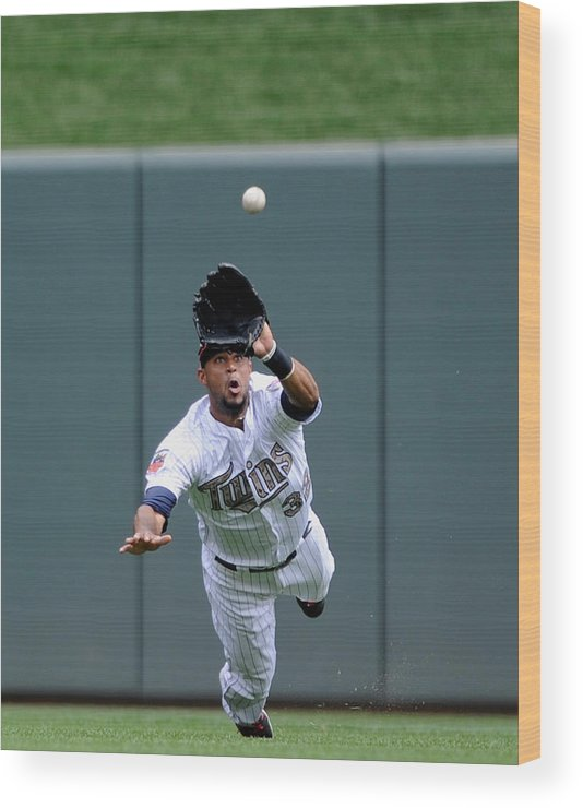 American League Baseball Wood Print featuring the photograph Aaron Hicks by Hannah Foslien