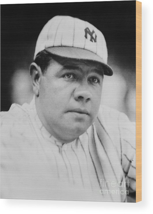 People Wood Print featuring the photograph Babe Ruth by Mlb Photos