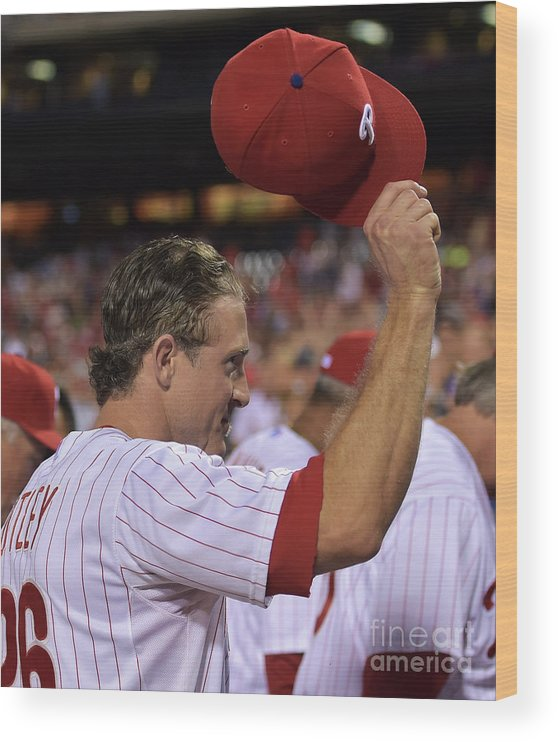 Crowd Wood Print featuring the photograph Chase Utley by Drew Hallowell