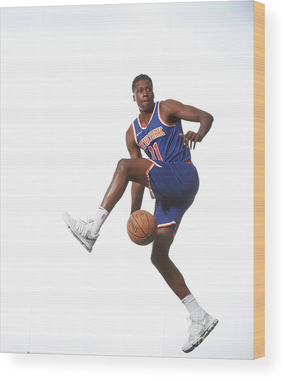 Nba Pro Basketball Wood Print featuring the photograph Frank Ntilikina by Nathaniel S. Butler
