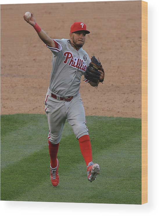 National League Baseball Wood Print featuring the photograph Freddy Galvis by Doug Pensinger