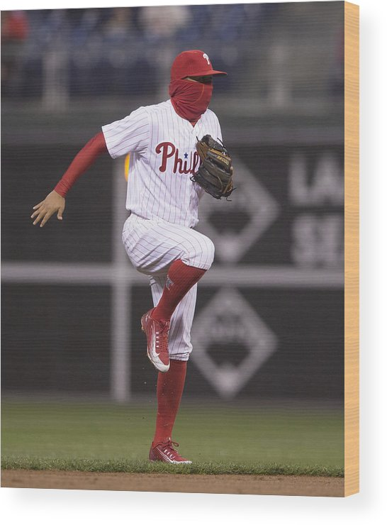 People Wood Print featuring the photograph Freddy Galvis by Mitchell Leff