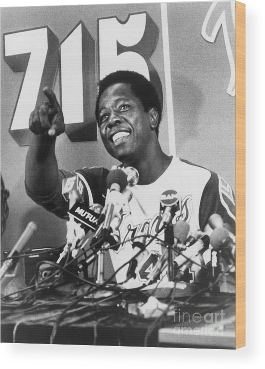 People Wood Print featuring the photograph Hank Aaron by Mlb Photos