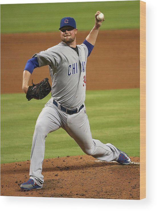 People Wood Print featuring the photograph Jon Lester by Mike Ehrmann