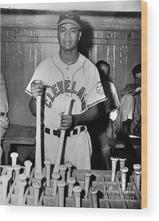 American League Baseball Wood Print featuring the photograph Larry Doby by National Baseball Hall Of Fame Library
