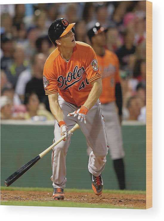 American League Baseball Wood Print featuring the photograph Nick Hundley by Jim Rogash