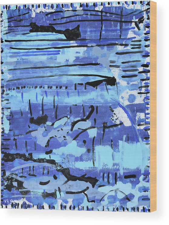 Colorado Wood Print featuring the painting Something Blue by Pam Roth O'Mara