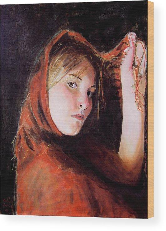 Portrait Of Woman Wood Print featuring the painting Vermeer's Daughter by Jean-Paul Setlak