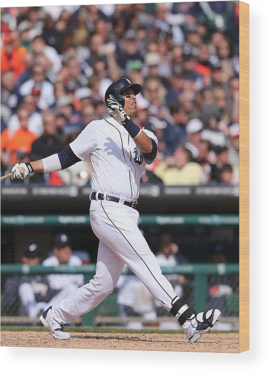 American League Baseball Wood Print featuring the photograph Victor Martinez by Leon Halip