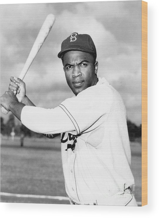 People Wood Print featuring the photograph Jackie Robinson by National Baseball Hall Of Fame Library