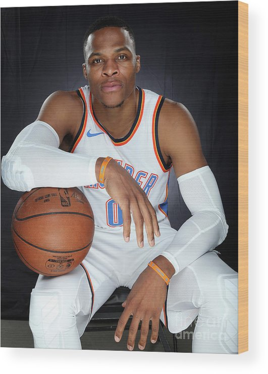 Media Day Wood Print featuring the photograph Russell Westbrook by Layne Murdoch
