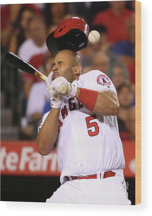 Three Quarter Length Wood Print featuring the photograph Albert Pujols by Sean M. Haffey